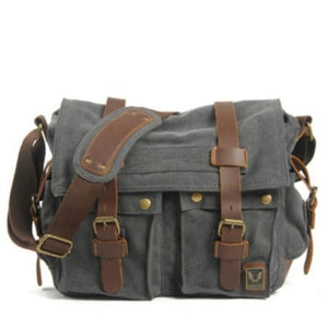 Cowboy Oilskin Canvas Dslr Camera/messenger Bag Dark Gray Premium Leather