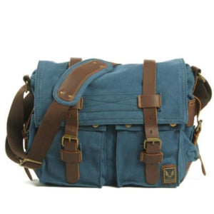 Cowboy Oilskin Canvas Dslr Camera/messenger Bag Blue Premium Leather