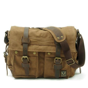 Cowboy Oilskin Canvas Dslr Camera/messenger Bag Light Khaki Premium Leather