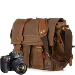 Cowboy Oilskin Leather Dslr Camera/messenger Bag Premium Leather