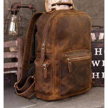 Load image into Gallery viewer, Crazy Horse Leather Backpack/school Knapsack Premium Leather