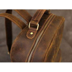 Crazy Horse Leather Backpack/school Knapsack Premium Leather