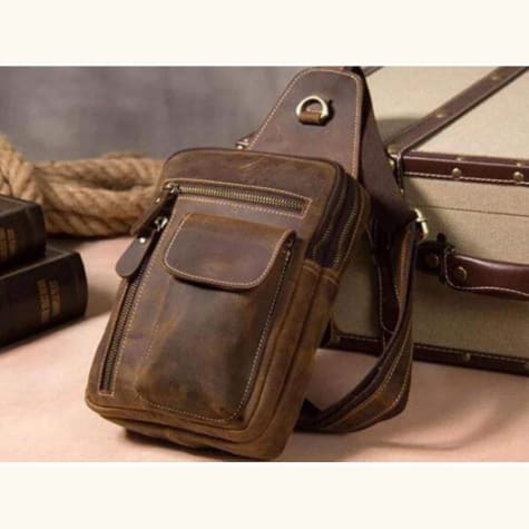 Crazy Horse Leather Chest Bag Premium Leather