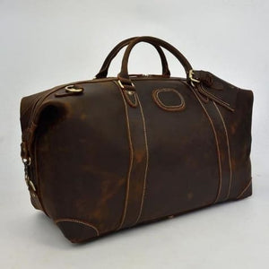 Crazy Horse Leather Durable thick Travel Duffel Bag Dark Brown(50cm) Premium Leather