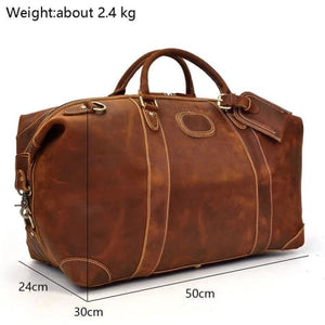 Crazy Horse Leather Durable thick Travel Duffel Bag Premium Leather