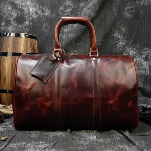 Crazy Horse Leather Durable thick Travel Duffel Bag Brown2 Premium Leather