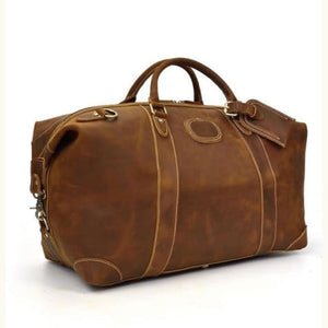 Crazy Horse Leather Durable thick Travel Duffel Bag Brown Premium Leather