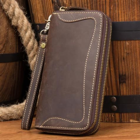 Crazy Horse Leather Long Wallet Handmade Zipper Clutch Premium Leather