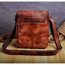 Load image into Gallery viewer, Crazy Horse Leather new Crossbody Messenger Bag Burgundy Premium Leather