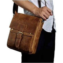 Load image into Gallery viewer, Crazy Horse Leather new Crossbody Messenger Bag Brown Premium Leather