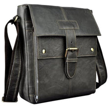 Load image into Gallery viewer, Crazy Horse Leather new Crossbody Messenger Bag Black Premium Leather