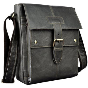 Crazy Horse Leather new Crossbody Messenger Bag Black Premium Leather
