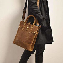 Load image into Gallery viewer, Crazy Horse Leather Retro Messenger/tote Bag Premium Leather