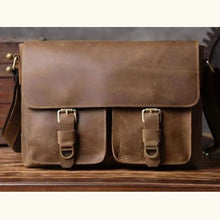 Load image into Gallery viewer, Crazy Horse Leather Satchel Bag Premium Leather
