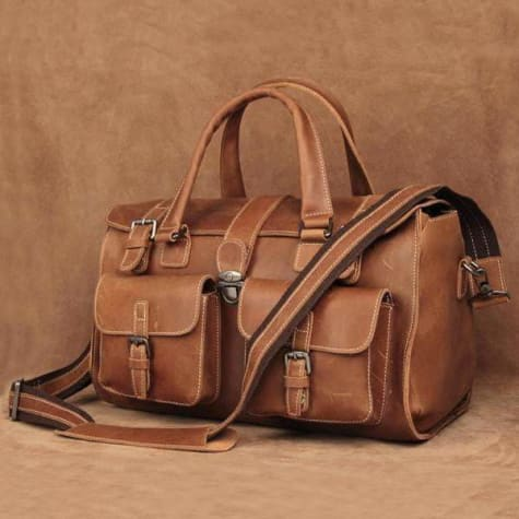 Crazy Horse Leather Sturdy Travel/duffle Carry Bag Premium Leather