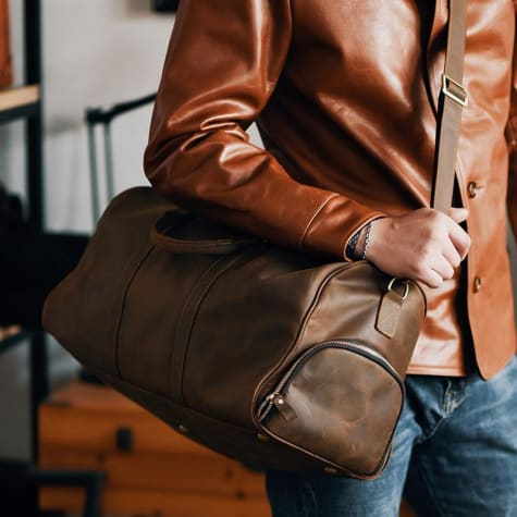 Crazy Horse Leather Travel and Duffel Bag Coffee Premium Leather