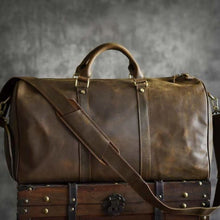 Load image into Gallery viewer, Crazy Horse Leather Travel and Duffel Bag Dark Coffee Premium Leather