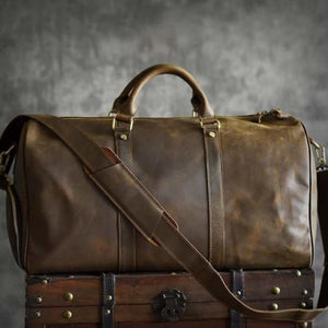 Crazy Horse Leather Travel and Duffel Bag Dark Coffee Premium Leather