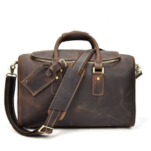 Crazy Horse Leather Travel and Laptop Duffle Bag Premium Leather