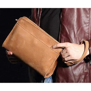 Crazy Horse Leather Wristlet/clutch Vintage Wrist Bag Brown Premium Leather
