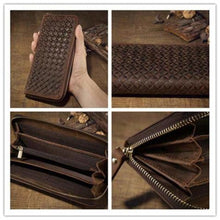 Load image into Gallery viewer, Crazy Horse Leather Wristlet/wallet Weaved Retro Clutch Premium Leather