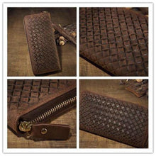 Load image into Gallery viewer, Crazy Horse Leather Wristlet/wallet Weaved Retro Clutch
