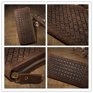 Crazy Horse Leather Wristlet/wallet Weaved Retro Clutch