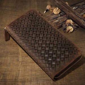 Crazy Horse Leather Wristlet/wallet Weaved Retro Clutch Premium Leather