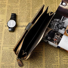 Load image into Gallery viewer, Creme Two Tone Leather Wallet and Vintage Clutch Premium Leather