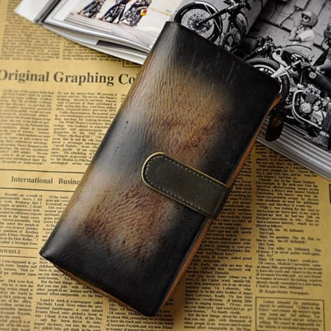 Creme Two Tone Leather Wallet and Vintage Clutch Premium Leather
