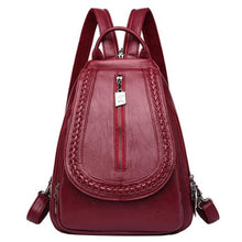 Load image into Gallery viewer, Cross Body Ladies Leather Backpack/tote and Travel Bag Burgundy Premium Leather