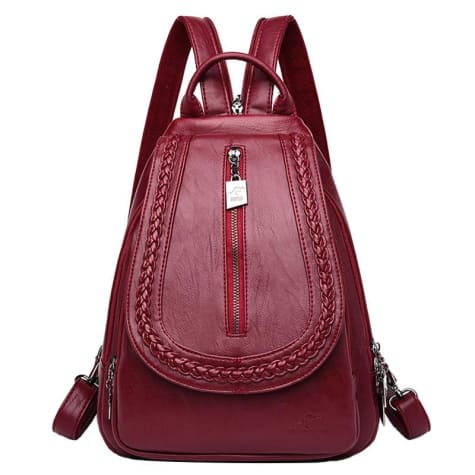 Cross Body Ladies Leather Backpack/tote and Travel Bag Burgundy Premium Leather