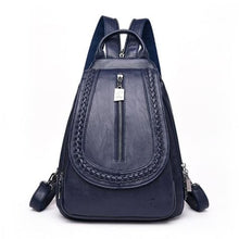 Load image into Gallery viewer, Cross Body Ladies Leather Backpack/tote and Travel Bag Deep Blue Premium Leather