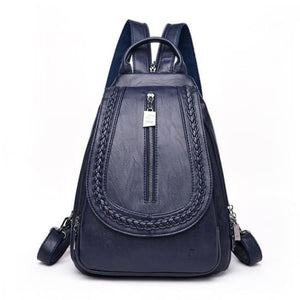 Cross Body Ladies Leather Backpack/tote and Travel Bag Deep Blue Premium Leather
