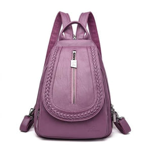 Cross Body Ladies Leather Backpack/tote and Travel Bag Purple Premium Leather
