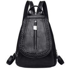 Load image into Gallery viewer, Cross Body Ladies Leather Backpack/tote and Travel Bag Black Premium Leather