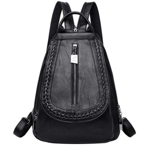 Cross Body Ladies Leather Backpack/tote and Travel Bag Black Premium Leather