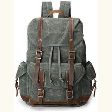 Load image into Gallery viewer, Custom Canvas Leather Laptop,backpack Army Green Premium Leather