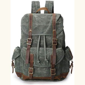 Custom Canvas Leather Laptop,backpack Army Green Premium Leather