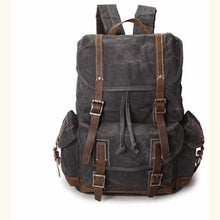 Load image into Gallery viewer, Custom Canvas Leather Laptop,backpack Dark Grey Premium Leather