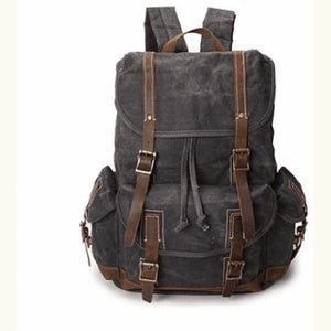 Custom Canvas Leather Laptop,backpack Dark Grey Premium Leather