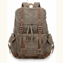 Load image into Gallery viewer, Custom Canvas Leather Laptop,backpack Olive Green Premium Leather