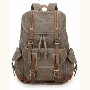 Custom Canvas Leather Laptop,backpack Olive Green Premium Leather