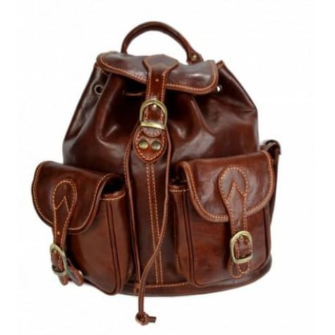 Dark Brown Authentic Italian Calf Leather Backpack and Travel Bag Premium Leather