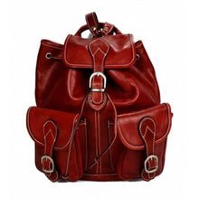Load image into Gallery viewer, Dark Brown Authentic Italian Calf Leather Backpack and Travel Bag Red Premium Leather