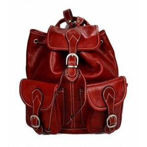 Dark Brown Authentic Italian Calf Leather Backpack and Travel Bag Red Premium Leather