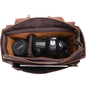 Dark Dbl Vintage Leather Camera/messenger Bag Premium Leather