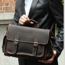 Load image into Gallery viewer, Dark Dbl Vintage Leather Camera/messenger Bag Premium Leather