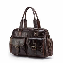 Load image into Gallery viewer, Deluxe Leather Large Capacity Messenger & Travel Bag Dark Coffee Premium Leather