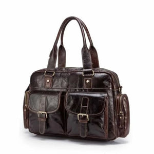 Deluxe Leather Large Capacity Messenger & Travel Bag Dark Coffee Premium Leather